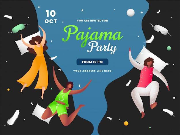 Ragazze che godono con il cuscino volante in occasione del pigiama party. può essere usato come banner