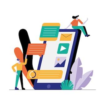 Ragazze che utilizzano l'illustrazione dei caratteri di tecnologia dello smartphone