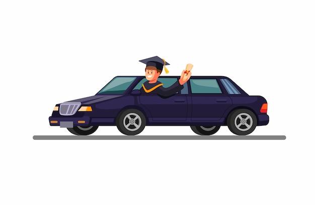 Giovane laureato indossa abito e guida limousine. celebrazione dell'accademia di laurea con il concetto di auto nell'illustrazione del fumetto
