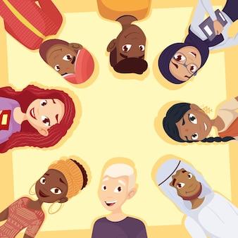 Giovane gruppo di personaggi di diversità
