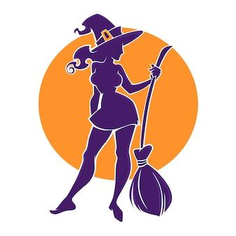 Immagine giovane strega felice e attraente, per il tuo volantino di halloween, logo, etichetta, emblema