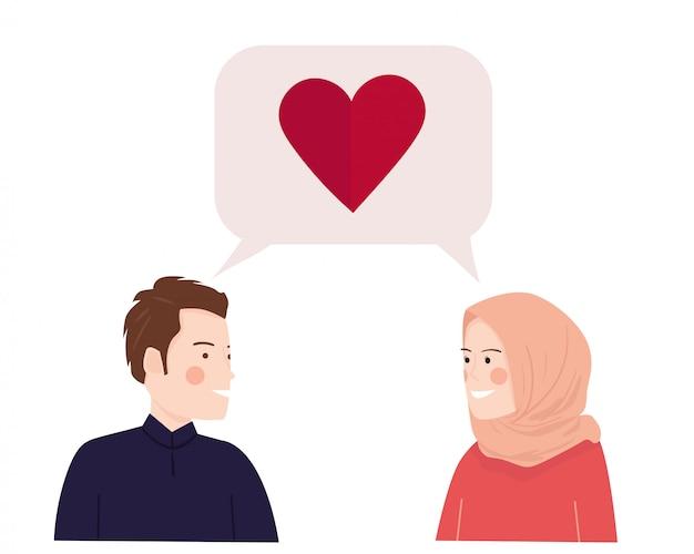 Giovane coppia felice parlando di amore