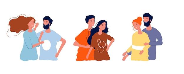Giovani coppie felici. uomo donna che abbraccia insieme, adolescenti cartoon isolati innamorati.
