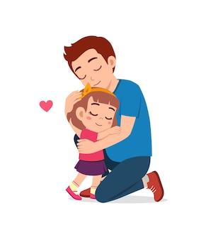 Il giovane padre felice abbraccia la bambina carina