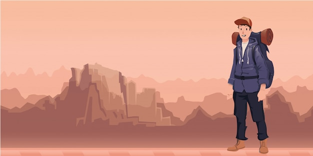 Un giovane uomo felice, zaino in spalla nel paesaggio di montagna. escursionista, esploratore. illustrazione con copia spazio.