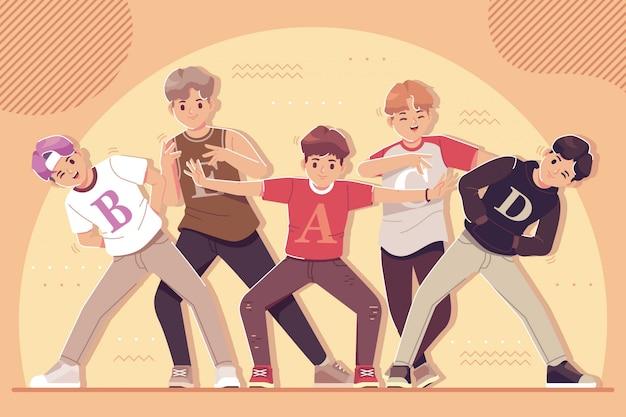 Giovani felici che ballano insieme illustrazione