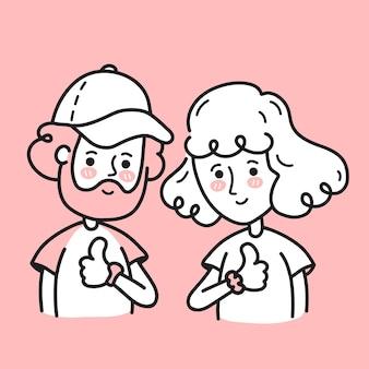 Giovane uomo e donna barbuti con un sorriso felice che mostrano i pollici in su