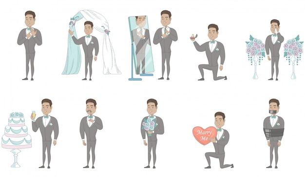 Set di caratteri giovane sposo ispanico