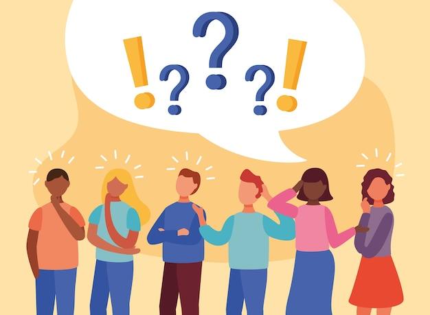 Giovani interrazziali che dubitano con domande e punti esclamativi nella progettazione dell'illustrazione di vettore della bolla