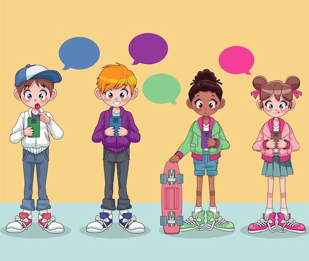 Ragazzi giovani adolescenti interrazziali che chiacchierano con personaggi di smartphone