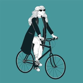 Giovane donna dai capelli lunghi che indossa occhiali da sole, cappotto e scarpe da ginnastica in sella alla bici. ragazza vestita in abiti alla moda in bicicletta disegnati con linee di contorno nere su sfondo verde.
