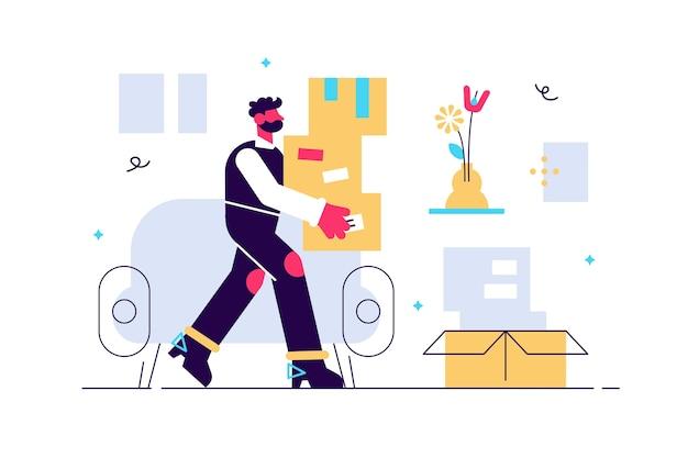 Giovane personaggio maschile che tiene scatole di cartone che si spostano in un nuovo interno di casa di trasferimento di appartamento