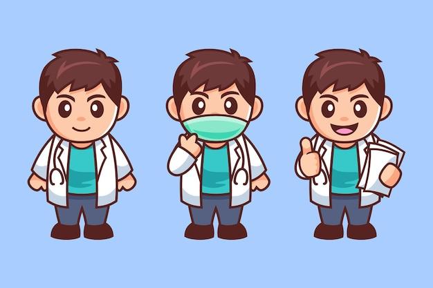 Personaggio dei cartoni animati di giovane medico maschio