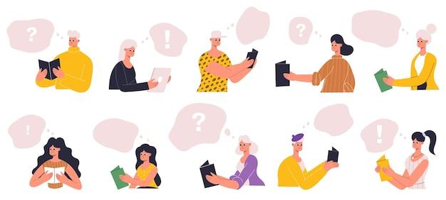 Giovani lettori di sesso maschile e femminile ritratti con libri di carta. studenti che leggono libri, set di illustrazioni vettoriali per avatar di amanti del libro. leggere la letteratura per hobby. personaggio lettore maschio e femmina