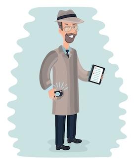 Giovane agente spia maschio che indossa un cappello, un cappotto e una cravatta