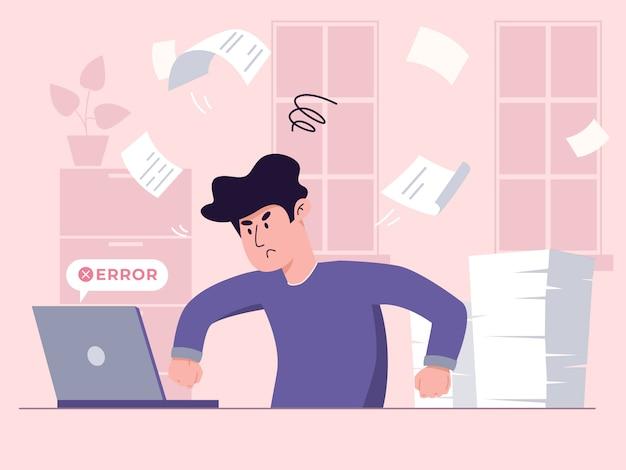 Il giovane lavoratore maschio sta combattendo con la sua illustrazione del computer portatile