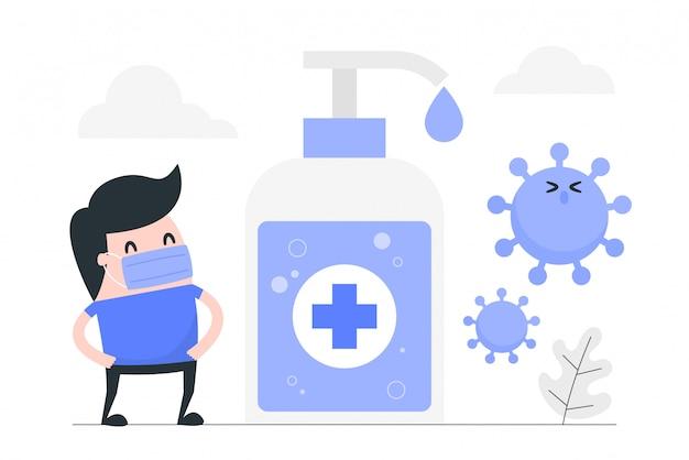 Giovane uomo contro virus con gel disinfettante per le mani.