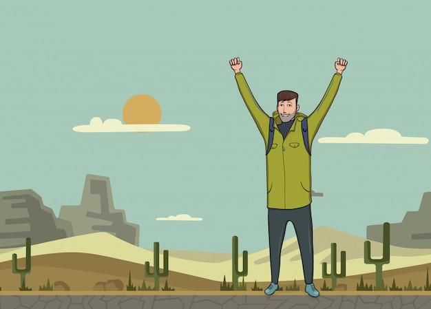 Un giovane, zaino in spalla con le mani alzate nel deserto. escursionista, esploratore. un simbolo di successo. illustrazione con copia spazio.
