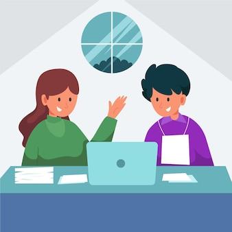 Giovane che lavora come stagista in un'azienda
