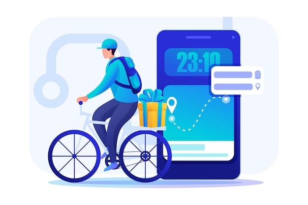 Il giovane su una bicicletta trasporta gli ordini. consegna tramite corriere.
