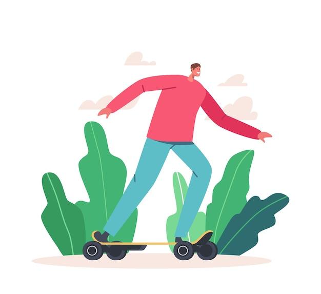 Giovane in vestiti casuali che guidano lo skateboard elettrico sullo sfondo del parco cittadino. skateboard di carattere adolescente con smile emoji, trasporto ecologico, stile di vita megapolis. fumetto illustrazione vettoriale
