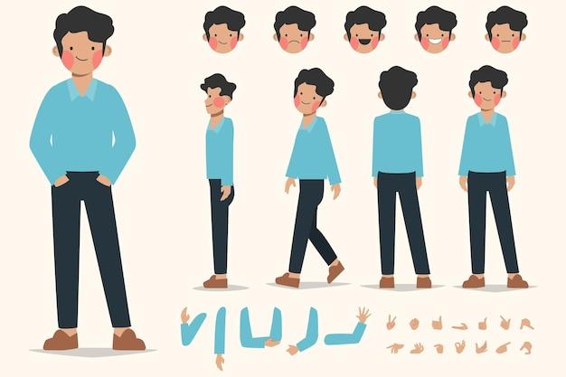 Disegno di creazione del personaggio del giovane per design piatto del fumetto di animazione