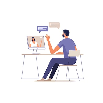 Il giovane comunica in linea utilizzando un computer. donna sullo schermo dei dispositivi.