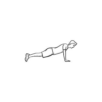 Icona di doodle di contorno disegnato a mano del giovane che fa flessioni. fitness, flessioni e allenamento plank, concetto di esercizi exercises