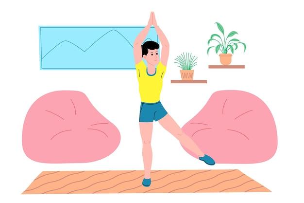 Giovane che fa esercizi fisici sportivi, allenamenti a casa e fitness a casa durante la quarantena e conduce uno stile di vita sano. illustrazione vettoriale piatto. persone, uomini e donne che usano la casa come palestra.