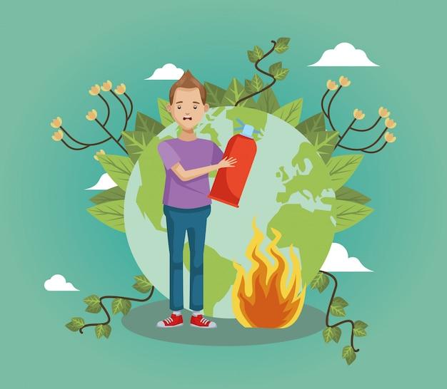 Ambientalisti del giovane che estinguono incendio forestale Vettore Premium