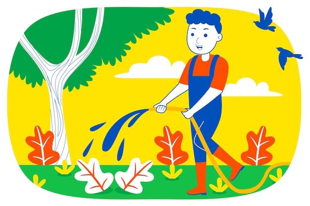 Giovane uomo impianto a filo in giardino.