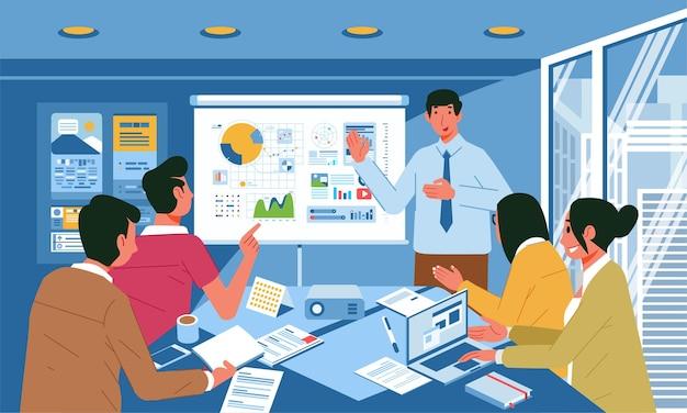 Giovane che dà presentazione aziendale nella riunione ufficio, interno sala riunioni ufficio