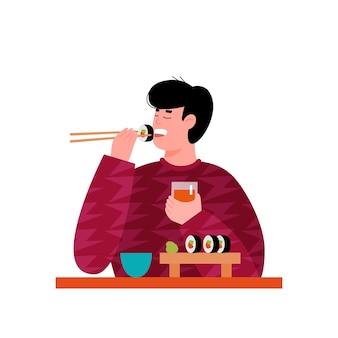 Giovane uomo o ragazzo personaggio dei cartoni animati che gode del sushi