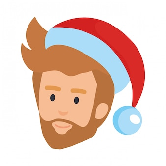 Testa di giovane uomo con cappello barba e santa