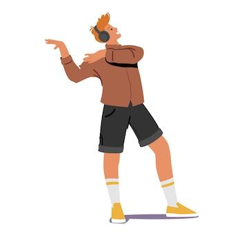 Il giovane in cuffie ascolta la musica. personaggio maschile che indossa gli auricolari che si gode la composizione del suono e la danza