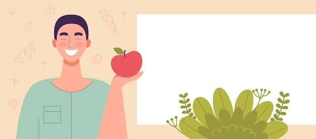 Mela della tenuta del giovane a disposizione. cibo dietetico, stile di vita sano, cibo vegetariano, dieta di cibi crudi. spuntino per studenti. modello, spazio per il testo, banner per il sito web. illustrazione di vettore del fumetto piatto.