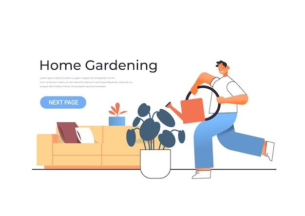 Giovane che tiene annaffiatoio e versando piante concetto di giardinaggio domestico ragazzo che si prende cura di piante d'appartamento illustrazione orizzontale a figura intera