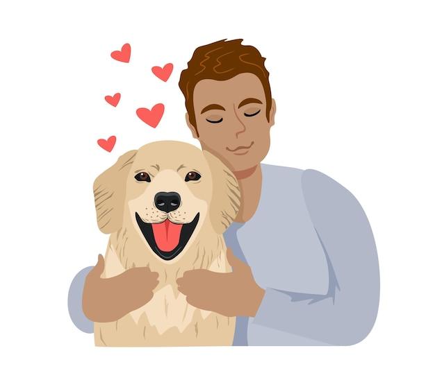 Giovane che abbraccia cane con amore accogliente e rilassante amicizia dell'uomo e dell'animale domestico schizzo con cuori rossi