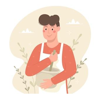 Il giovane sta cucinando. illustrazione vettoriale in stile cartone animato.