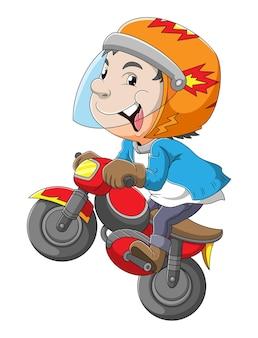 Il giovane sta guidando la moto con lo stile libero dell'illustrazione