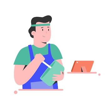 Il giovane impara a cucinare con l'illustrazione del video tutorial