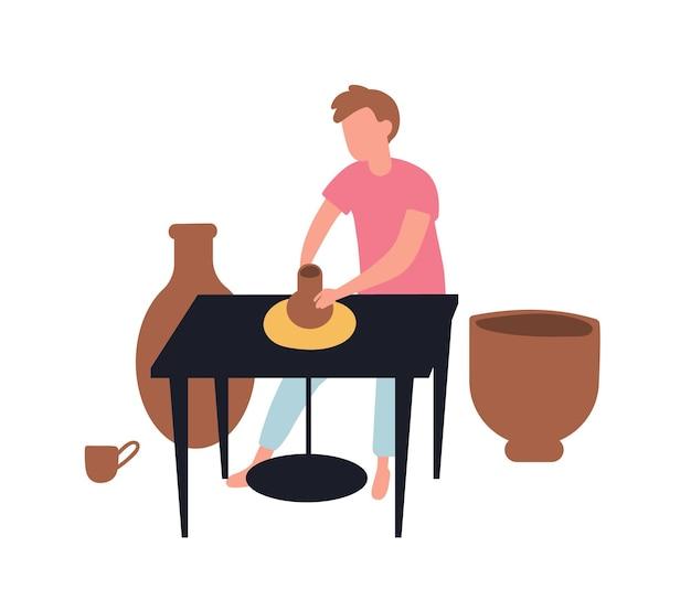 Giovane che fa pentole con argilla. ceramiche e ceramiche. simpatico uomo divertente e la sua attività di passatempo o hobby creativo. lavoro manuale, artigianato o artigianato. piatto del fumetto colorato illustrazione vettoriale.