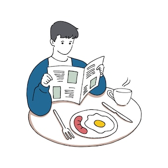 Giovane che legge il giornale mentre fa colazione, concetto di buongiorno, illustrazione di vettore di stile di arte linea disegnata a mano.