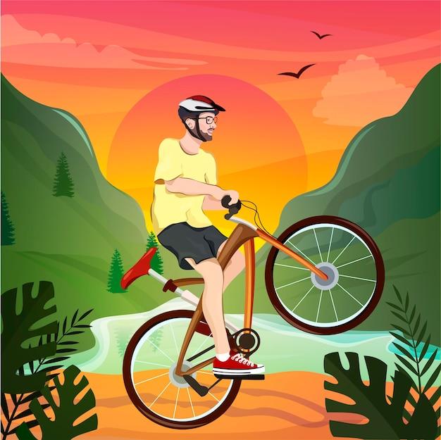 Giovane che guida una bicicletta in un pittoresco paesaggio di montagna. sport ciclistico.
