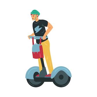 Giovane uomo che guida il trasporto eco personale della città moderna, illustrazione vettoriale piatta isolato su priorità bassa bianca. scooter elettrico autobilanciato per il pendolarismo e il viaggio in città.