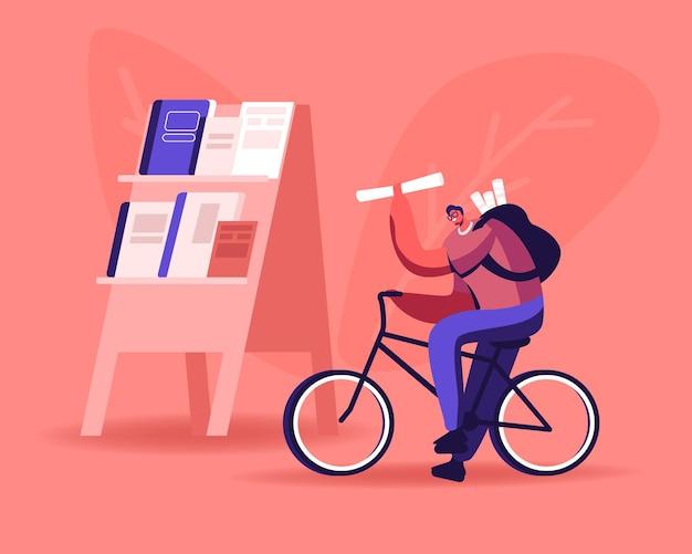 Giovane uomo che vende giornali su strada. cartoon illustrazione piatta