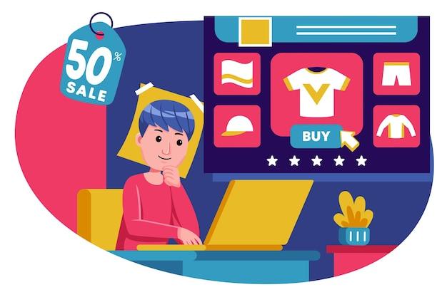 Il giovane si sieda indietro per comprare i prodotti con il computer portatile