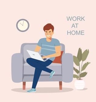 Giovane che si siede sulla sedia e lavora con l'illustrazione piatta del computer portatile