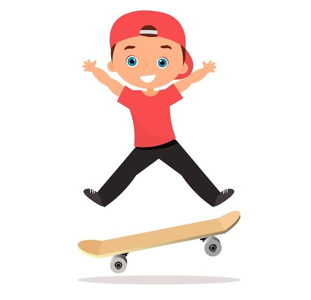 Giovane uomo lo skateboard. pattinatore del ragazzo del fumetto che guida uno skateboard e fa un trucco da skateboard. design piatto. illustrazione vettoriale eps 10.