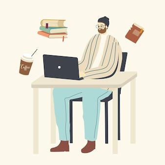 Personaggio studente giovane in occhiali lavora su laptop seduto alla scrivania in aula, lezione o webinar formazione online a distanza, apprendimento elettronico, libreria di libri elettronici